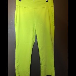 Roz & Ali Stretch Ankle Cropped Pants Green S 10